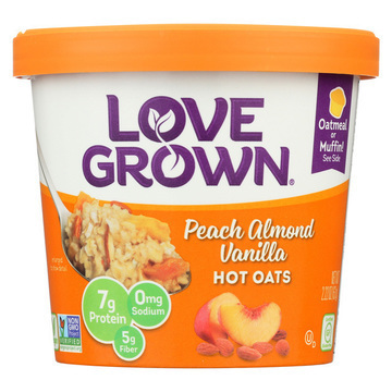 Love Grown Foods Hot Oats - Peach, Almond and Vanilla - Case of 8 - 2.22 oz.