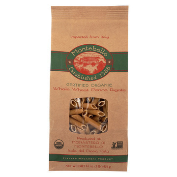 Montebello Organic Pasta - Whole Wheat Penne Rigate - Case of 12 - 1 lb.