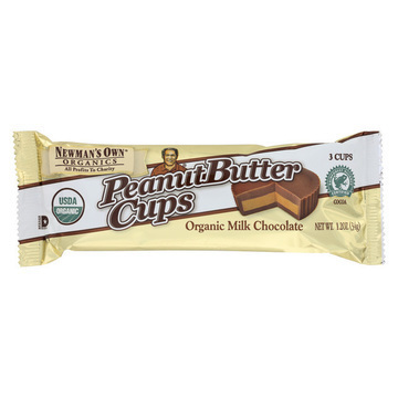 Newman's Own Organics Chocolate Cups - Peanut Butter - Organic Milk Chocolate - 1.2 oz - Case of 16