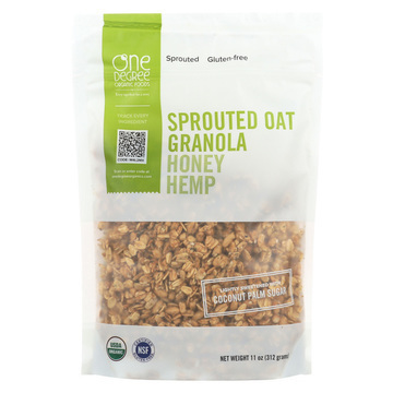 One Degree Organic Foods Sprouted Oat Hemp Granola - Honey - Case of 6 - 11 oz.