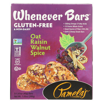 Pamela's Products Oat Spice Whenever Bars - Raisin Walnut - Case of 6 - 1.41 oz.