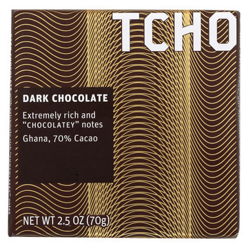 Tcho Chocolate Dark Chocolate Bar - Chocolatey 70 Percent Cacao - Case of 12 - 2.5 oz.