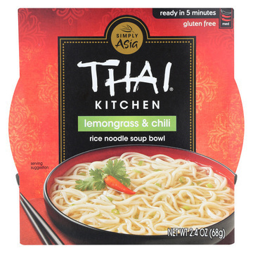 Thai Kitchen Rice Noodle Soup Bowl - Lemongrass and Chili - Case of 6 - 2.4 oz.