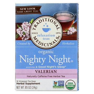 Traditional Medicinals Organic Herbal Tea - Nighty Night Valerian - Case of 6 - 16 Bags