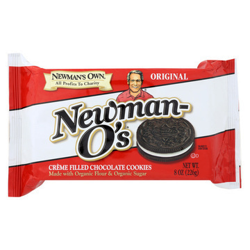 Newman's Own Organics Creme Filled Chocolate Cookies - Vanilla - Case of 6 - 8 oz.