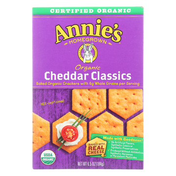 Annie's Homegrown Organic Cheddar Classic Crackers - Case of 12 - 6.5 oz.