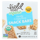 Field Day Organic Vanilla Crispy Rice Snack Bars - Crispy Rice - Case of 6 - 3.9 oz.