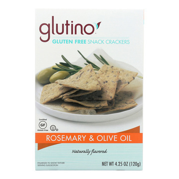 Glutino Crackers - Rosemary and Olive Oil - Case of 6 - 4.25 oz.