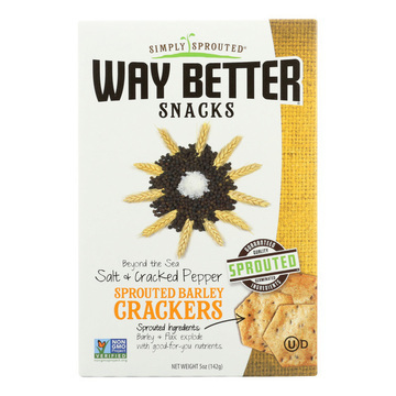 Way Better Snacks Crackers - Salt and Cracked Pepper - Case of 6 - 5 oz.