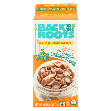Back To The Roots Stoneground Flakes - Cinnamon Clusters - Case of 8 - 9 oz.