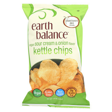 Earth Balance Vegan Kettle Chips - Sour Cream and Onion - Case of 12 - 5 oz.