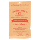 Three Jerks Jerky Filet Mignon Memphis BBQ Jerky - Spicy and Savory - Case of 12 - 2 oz.