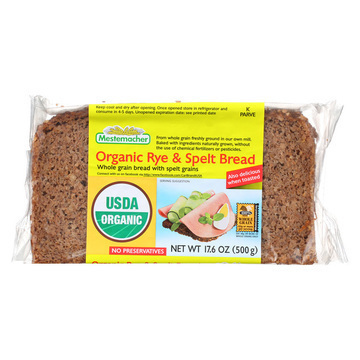 Mestemacher Bread Natural Rye and Spelt Bread - Whole Grain Bread with Unripe Spelt Grains - Case of 12 - 17.6 oz.