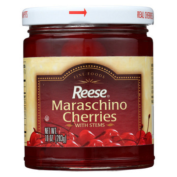 Reese Red Maraschino Cherries with Stems - Case of 12 - 10 oz.