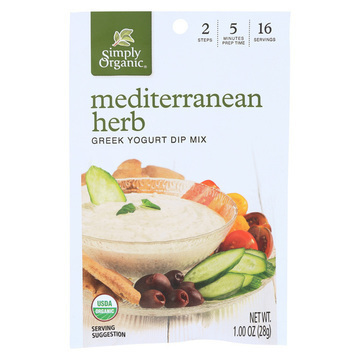 Simply Organic Mediterranean Herb Greek Yogurt Dip Mix - Case of 12 - 1 oz.
