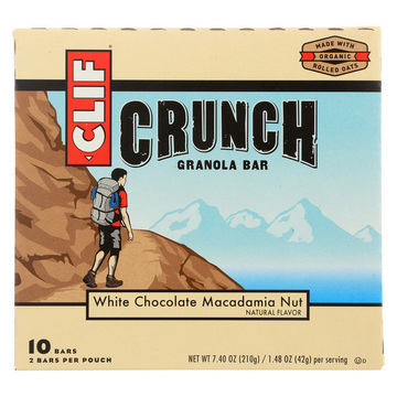 Clif Bar Organic Crunch Granola Bar - White Chocolate Macadamia Nut - Case of 12 - 1.5 oz.