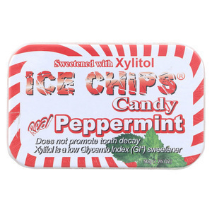 Ice Chips Peppermint Candy - Xylitol Mint - Case of 6 - 1.76 oz.