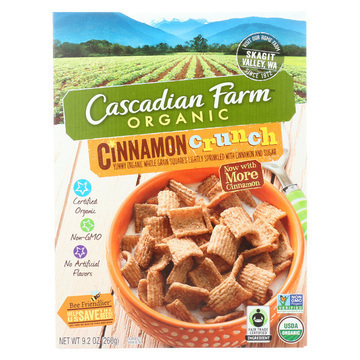 Cascadian Farm Organic Cereal - Cinnamon Crunch - Case of 10 - 9.2 oz