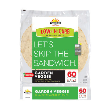 "Tumaros Low-In-Carb Wraps - Garden Veggie - 8"" - 8 ct."