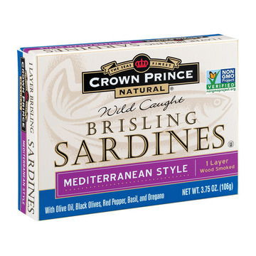 Crown Prince Brisling Sardines - Mediterranean Style - Case of 12 - 3.75 oz.