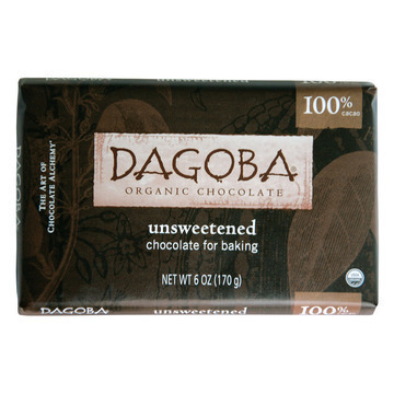 Dagoba Organic Chocolate - Unsweetened Dark Chocolate Baking Bar - Case of 10 - 6 oz.