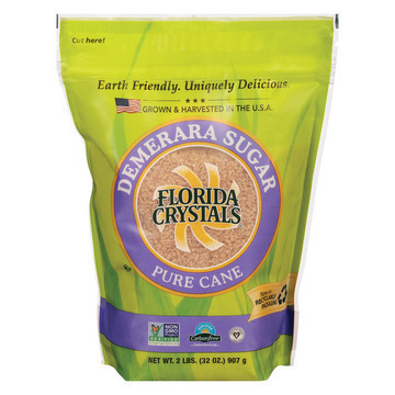 Florida Crystals Natural Demerara Sugar - Demerara Sugar - Case of 6 - 2 lb.