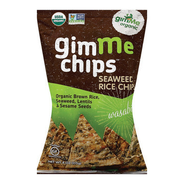 Gimme Organic Seaweed Rice Chips - Wasabi - Case of 12 - 4 oz.