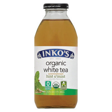 Inko's White Tea - Organic Tea - Unsweetened Hint O' Mint - Case of 12 - 16 Fl oz.