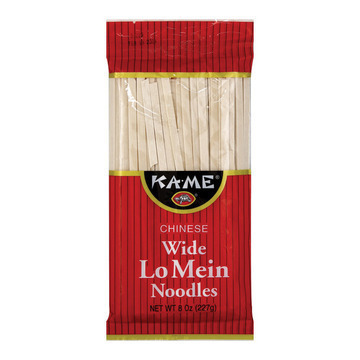 Ka'Me Wide Lo Mein Noodles - Case of 12 - 8 oz.