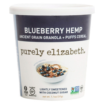Purely Elizabeth  Ancient Grain Granola and Puffs - Blueberry Hemp - Case of 12 - 1.1 oz.
