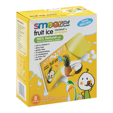 Smooz.e All Natural Fruit Ice - Pineapple Coconut - Case of 12 - 17.6 Fl oz.