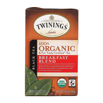 Twinings Tea - 100 Percent Organic - Breakfast Blend - 20 Bags - Case of 6