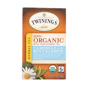Twinings Tea - 100 Percent Organic - Camomile - with Mint and Lemon - 20 Bags - Case of 6