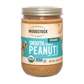 Woodstock Organic Classic Peanut Butter - Smooth - Case of 12 - 16 oz