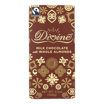 Divine 38 Percent Milk Chocolate Bar with Whole Almonds - Case of 10 - 3.5 oz.