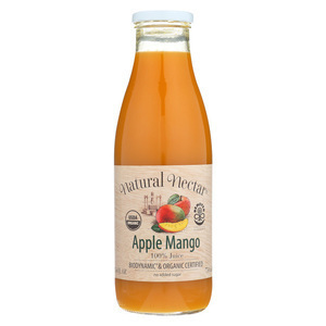 Natural Nectar Organic and Biodynamic Fruit Juices - Apple and Mango - Case of 6 - 25.4 Fl oz.
