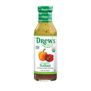 Drews All Natural Garlic Italian Dressing and Quick Marinade - Case of 6 - 12 FL oz.