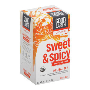 Good Earth Herbal Tea - Organic Sweet and Spicy Caffeine Free - Case of 6 - 18 Bags