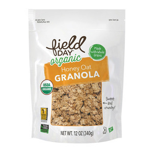 Field Day Organic Honey Nut O's Whole Grain Cereal - Grain Cereal - Case of 6 - 12 oz.