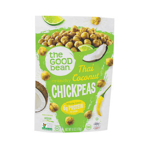 The Good Bean Crispy Crunchy Chickpea Snacks - Thai Coconut Lemongrass - Case of 6 - 6 oz.