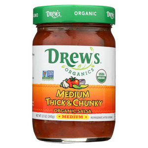 Drew's Organics Medium Thick and Chunky Salsa - 12 Oz. - Case of 6