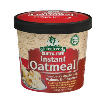 Gluten Freeda Instant Oatmeal Cup - Cranberry Apple with Walnuts and Cinnamon - Case of 12 - 2.64 oz.