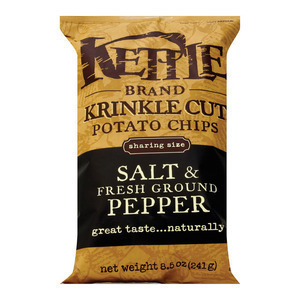 Kettle Brand Potato Chips - Salt and Fresh Ground Pepper - Case of 12 - 8.5 oz.