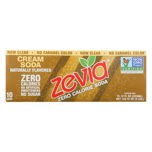 Zevia Zero Calorie Soda - Cream Soda - Case of 2 - 12 Fl oz.
