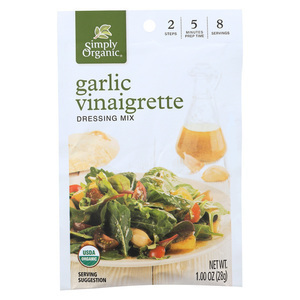 Simply Organic Garlic Vinaigrette Dressing Mix - Case of 12 - 1 oz.