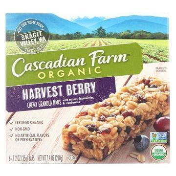 Cascadian Farm Organic Chewy Granola Bars - Harvest Berry - Case of 12 - 7.4 oz