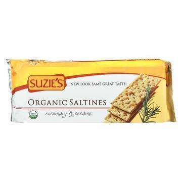 Suzie's Organic Saltines - Rosemary and Sesame - Case of 12 - 8.8 oz.