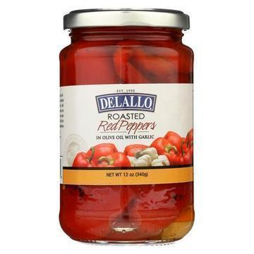Delallo Roasted Red Peppers with Garlic and Olive Oil - Case of 12 - 12 oz.