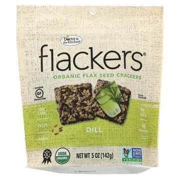 Dr. In The Kitchen Flackers Organic Flax Seed Crackers - Dill - Case of 12 - 5 oz.
