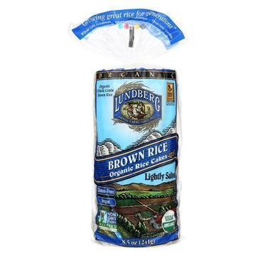 Lundberg Family Farms Organic Brown Rice Cakes - Lightly Salted - Case of 12 - 8.5 oz.
